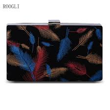 <b>ROOGLI 2020 new</b> women's evening bag black clutch bag feather ...