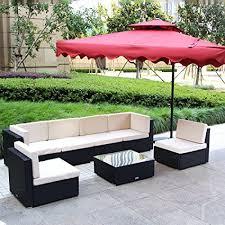 Outdoor furniture set Blue Image Unavailable Amazoncom Amazoncom Umax Pieces Patio Pe Rattan Wicker Sofa Sectional