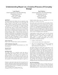 Design A Research Useful In Daily Life Pdf Understanding Repair As A Creative Process Of Everyday