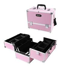 amazon dorfin locked makeup case 14 cosmetic case 4 trays key lock with adjule and removable dividers lockable cosmetic organizer makeup box