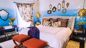 moroccan interior design ideas. bedroom : cool moroccan design ideas with white plain cozy fabric bedsheet and cream modern laminated headboard also colorful curtain added interior
