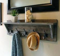 Entryway Coat Rack Shelf Delectable Wall Coat Rack With Shelves Shelf Hooks Racks Entryway Brown Color