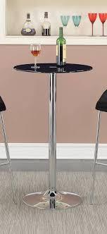 coaster 121341 round glass top bar table black glass chrome base