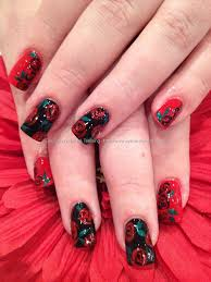 Red and black polish with freehand rose nail art | nails ...