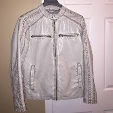 black rivet other mens white faux leather jacket