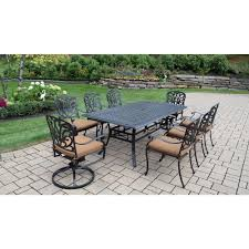 oakland living cast aluminum 9piece rectangular patio dining set with sunbrella cushions 9 piece patio dining set i5
