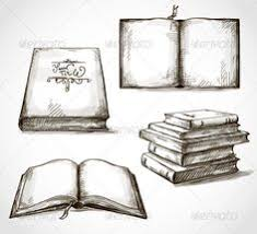 set of old books drawings vectors