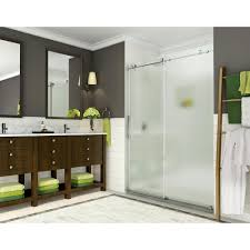 completely frameless sliding shower door w frosted glass in polished chrome