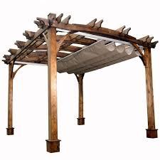 arched breeze cedar pergola with retractable