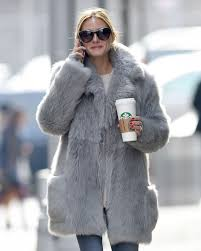olivia palermo wearing a grey fur coat 15