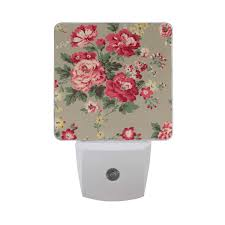 Led Night Light With Vintage Floral Flowers Plug In Bed Lamp