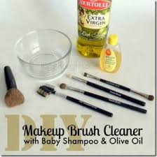 diy makeup brush cleaner with baby shoo olive oil