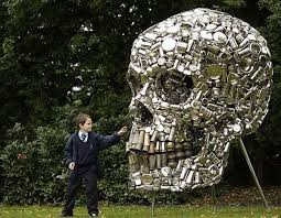 kitchen utensils art. Crafted By Indian Artist Subodh Gupta, This Is A Giant Skull Made From Old Kitchen Utensils. Piece Of Eco Art Was Showcased At The Frieze Fair In Utensils