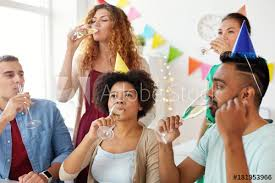Office Birthday Team Drinking Champagne At Office Birthday Party Buy This Stock