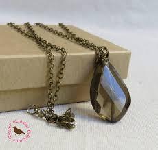 long boho smokey quartz pendant necklace in vintage brass layering necklace