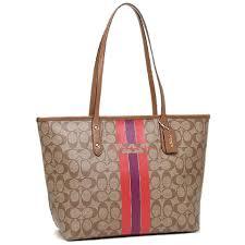 ... Coach Tote Classic Monogram Signature Stripe Brown Travel Bag .