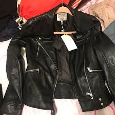zara trafaluc leather biker jacket in black xs women s fashion clothes outerwear on carou