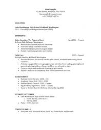 Easy Resume Templates For Highschool Students Free Sample Resume No
