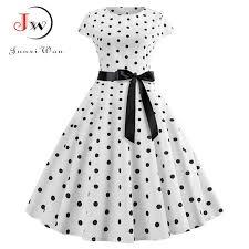 2019 New Women Vintage <b>Dress White</b> Polka Dot Summer <b>Dresses</b> ...
