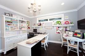 home office ceiling lighting. L-shaped-computer-desk-with-hutch-Home-Office -Contemporary-with-bookcase-bookshelves-bulletin-board-ceiling-lighting -chandelier-craft-room Home Office Ceiling Lighting A