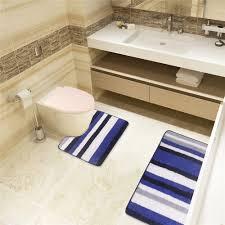 Soft Comfortable Blue and White Chenille Bathroom Set 2 Piece Non