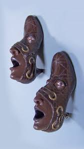 best images about walking guy bourdin salvador creepy face sculpture made from old shoes by gwen murphy she uses ash clay and acrylic paint to give both shoes in a pair an exactly similar face