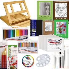 com us art supply 134 piece acrylic painting sketch drawing set with wood easel acrylic paint 4 paper pads canvas panels brushes color pencil