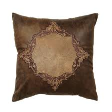 western bedding coronado embroidered faux leather pillow lone star western decor