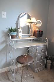 Bedroom:Cute White Wood Girl Bedroom Vanity Including Square Idea Iron  Silver Bedroom Vanity Set