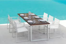italian essence outdoor dining table reclaimed teak white aluminium image 2