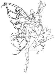Winx Club Stella Enchantix Coloring Pages Pokemon Coloring Pages