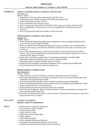 Programming Coordinator Resume Samples Velvet Jobs