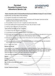 Paintball Parental Consent Adventure Sports Ltd Warwick