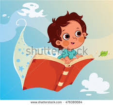 little boy flying on a book vector ilration