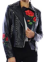 studs roses biker jacket