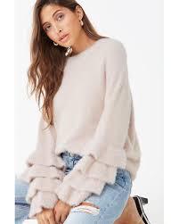 Fuzzy Light Pink Sweater Womens Fuzzy Flounce Sleeve Sweater Light Pink