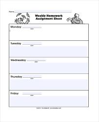 Weekly Homework Assignment Sheet Student Assignment Sheet Template Radiofixer Tk