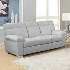 alto 3 seater light grey leather sofa