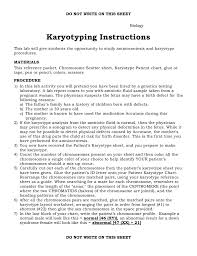 Karyotype Chart Karyotyping Instructions