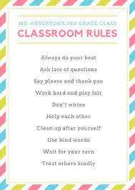 classroom rules template colorful stripes classroom rules poster templates by canva