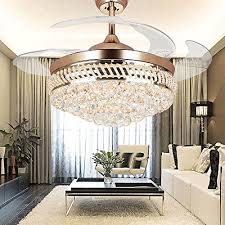 retractable lighting fixtures. COLORLED Modern Crystal Remote Control Transparent Acrylic Blade Retractable Ceiling Fan Lamp 42-inch Lighting Fixtures
