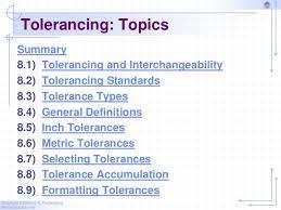 Standard Tolerance Chart Metric Chapter 8 Tolerancing 2010