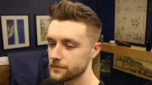 Short Textured Mens Fade Haircut With Front Cowlick Beard Trim