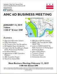 January 2019 Meeting Announcement Advisory Neighborhood Commission 6d
