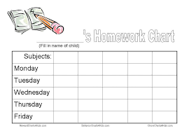 Weekly Homework Assignment Sheet Homework Chart And Other Tools To Get Homework Done