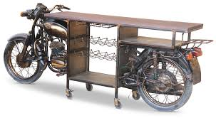 This Awesome Retro Upcycled Motorbike Wine Rackbar Table