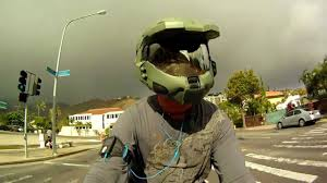 master chief halo custom motorcycle helmet on yamaha r1 gopro hero