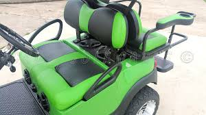 deluxe clubhouse golf cart seating in lime green with black inserts