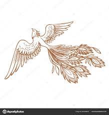 дизайн иллюстрация и характер птица феникс огонь рука нарисованные