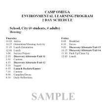 Program Of Events Sample Sample Schedule Camp Omega Waterville Mn